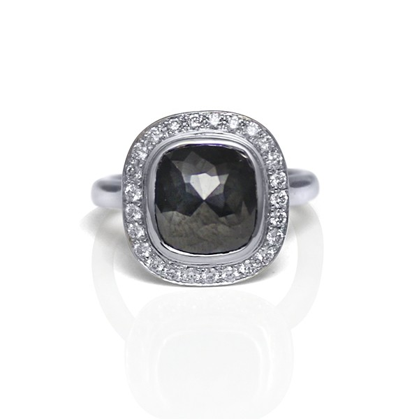 bd3613538 White Gold and Rose Cut Black Diamond Ring with Diamond Halo ...