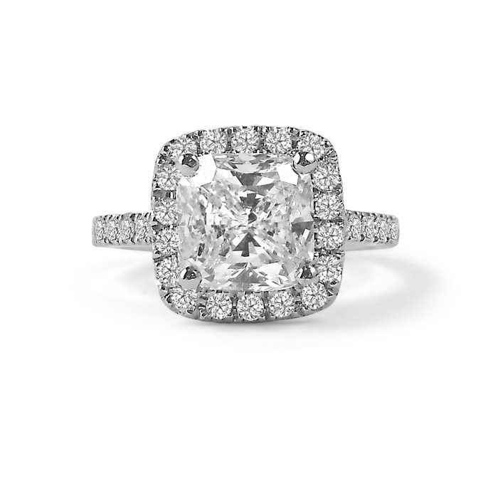 cushion cut shared claw halo engagement ring