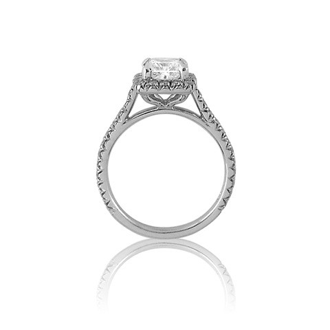 princess cut engagement ring with cushion shaped halo