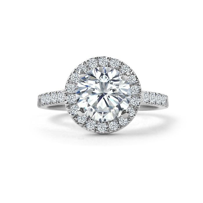 Shared Claw Diamond Halo Engagement Ring This Custom Engagement Ring