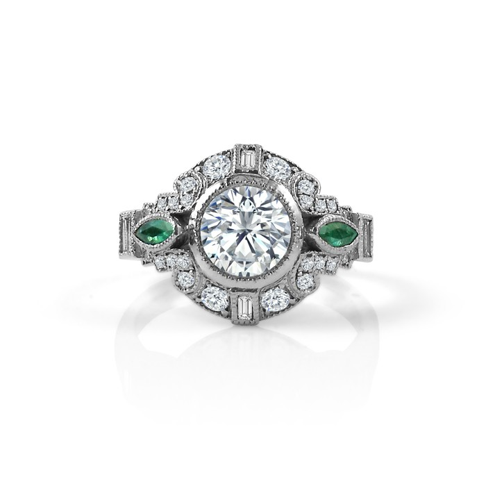 Art Deco Engagement Ring with Emerald Accents