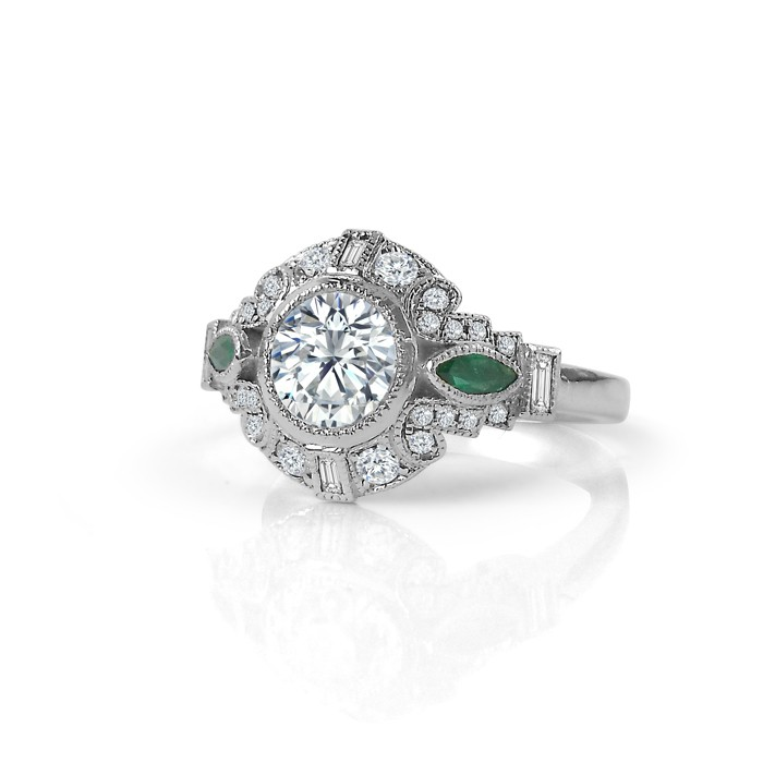 Diamond Ring With Emerald Accents Enement Rings Jewellery