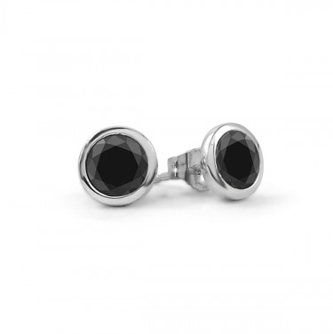 Black Diamond Bezel Set Stud Earrings