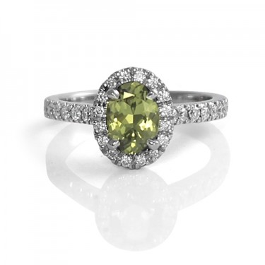 White Gold and Sage Green Sapphire Ring with Diamond Halo