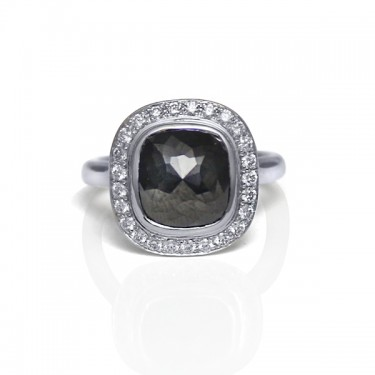 14K White Gold and Rose Cut Black Diamond Ring