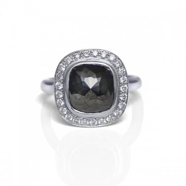 14K White Gold and Rose Cut Black Diamond Ring