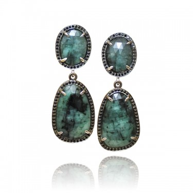 White Gold, Emerald and Black Diamond Earrings