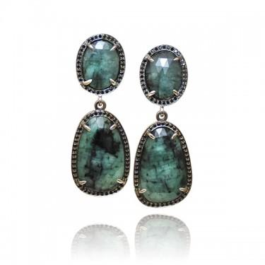 White Gold, Emerald and Black Diamond Earrings