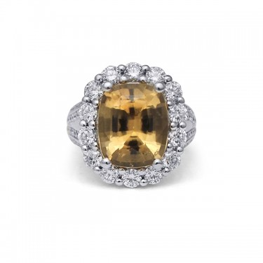 White Gold Hessonite Garnet Ring with Diamond Halo and Accents