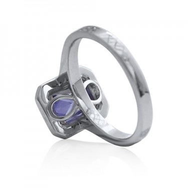 White Gold Sapphire and Diamond Halo Engagement Ring with Infinity Symbol