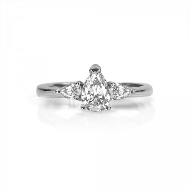 White Gold Pear-Shaped Three Stone Engagement Ring
