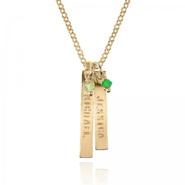 Yellow Gold Name Necklace with Two Tags and Swarovski Crystals
