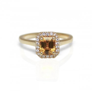 Yellow Gold Octagonal Yellow Sapphire Ring with Diamond Halo