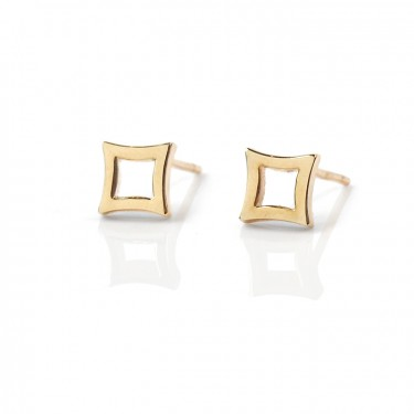 14K yellow petite diamond studs