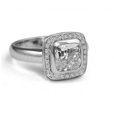 Bezel Set Cushion Cut Diamond Halo Engagement Ring