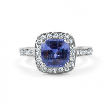 Cushion Cut Sapphire Halo Engagement Ring