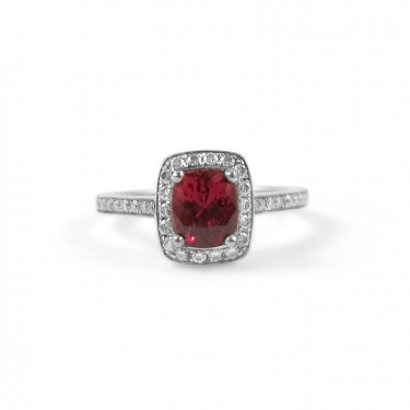 Ruby Engagement Ring with Pave Diamond Halo