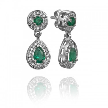 Custom Platinum Emerald and Diamond Earrings