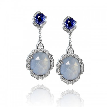 One of a Kind Custom Sapphire and Diamond Earrings