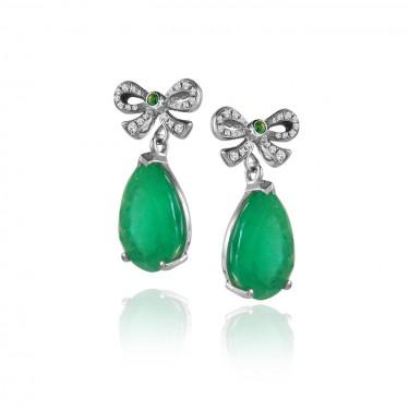 One of a Kind Custom Emerald and Diamond Bow Earrings