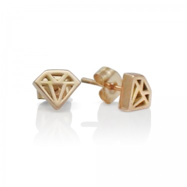 Handmade 14K Rose Gold Diamond Graphic Collection Petite Stud Earrings