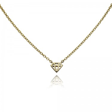 Handmade 14K Yellow Gold Diamond Graphic Collection Necklace