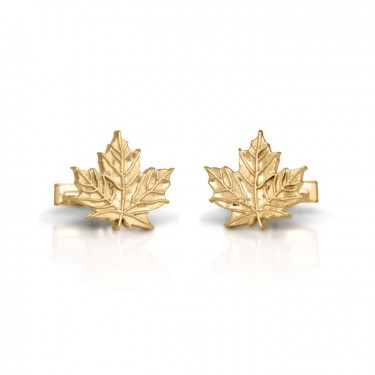 Handmade 14K Yellow Gold Maple Leaf Cufflinks