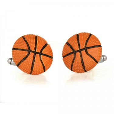 Handmade Sterling Silver Basketball Cufflinks - Orange