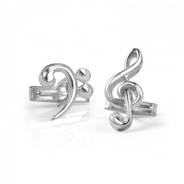 Handmade Sterling Silver Bass and Treble Clef Cufflinks