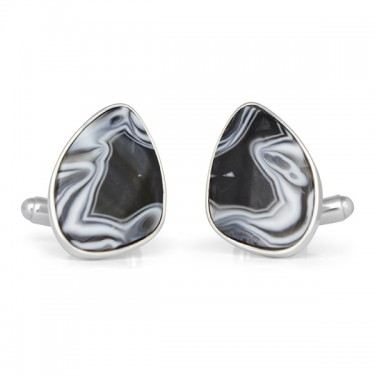 Handmade Sterling Silver Black and White Lace Agate Cufflinks