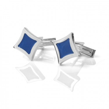 Handmade Sterling Silver Blue Painted Diamond Shaped Cufflinks