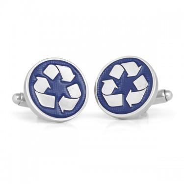 Handmade Sterling Silver Recycling Symbol Cufflinks