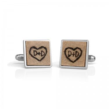 Handmade Sterling Silver Burned Wood Square Bezel Cufflinks D+D Side View