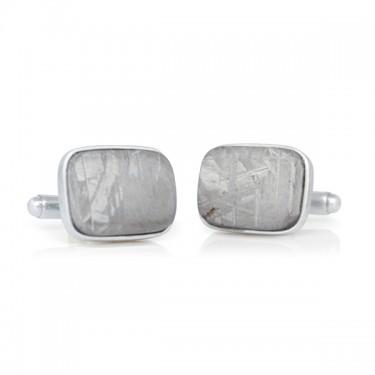 Handmade Sterling Silver Cushion Shaped Meteorite Cufflinks