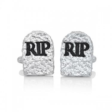 Handmade Sterling Silver RIP Tombstone Cufflinks