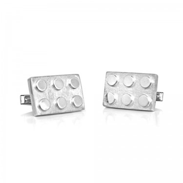Handmade Sterling Silver Interlocking Brick Cufflink