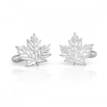 Handmade Sterling Silver Maple Leaf Cufflinks