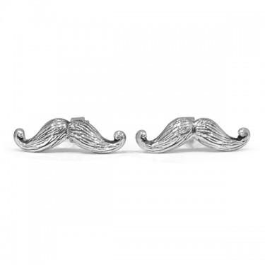 Handmade Sterling Silver Moustache Cufflinks