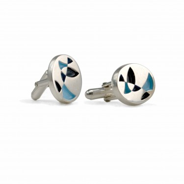 Handmade Sterling Silver Oval Painted Cufflinks in Blues