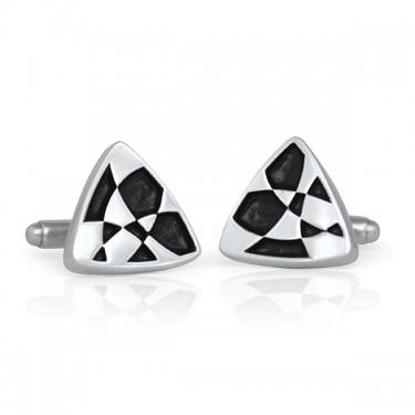 Handmade Sterling Silver Painted Navette Cufflinks Black