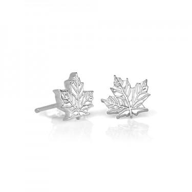 Handmade Petite Maple Leaf Earrings (7 mm)