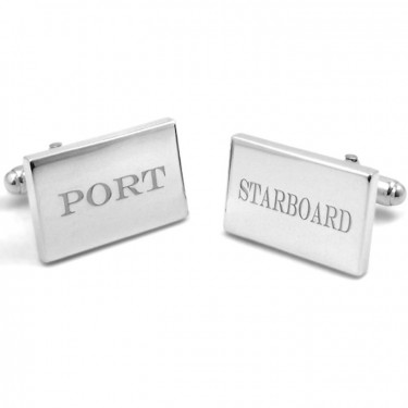 Handmade Sterling Silver Cufflinks with Port and Starboard Engraving