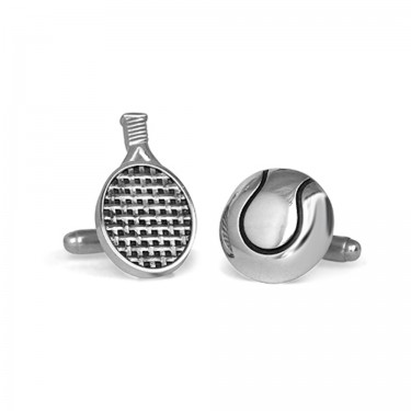 Handmade Sterling Silver Tennis Racquet and Ball Cufflinks