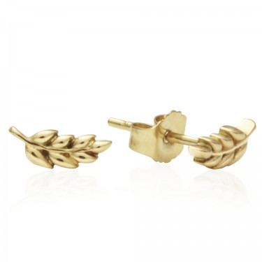 Petite Yellow Gold Laurel Studs