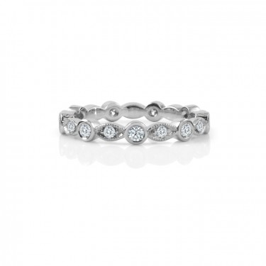 Leaf and Bezel Eternity Band