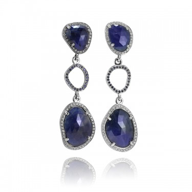 One of a Kind Blue Sapphire Slice and Diamond Earrings