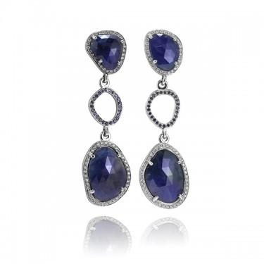 One of a Kind Blue Sapphire Slice and Diamond Earrings