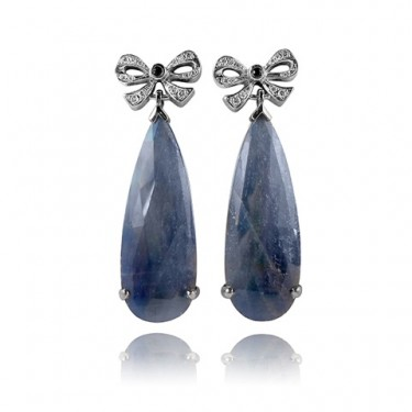 One of a Kind Sapphire and Diamond Bow Earrings