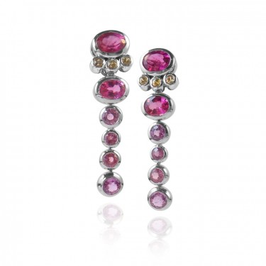One of a Kind Pink and Yellow Sapphire Earrings