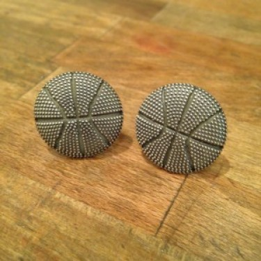 Handmade Basketball Cufflinks - Oxidized Sterling Silver
